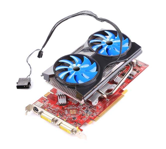 Powerful computer cooler with blue fun. Isolated on the white background.